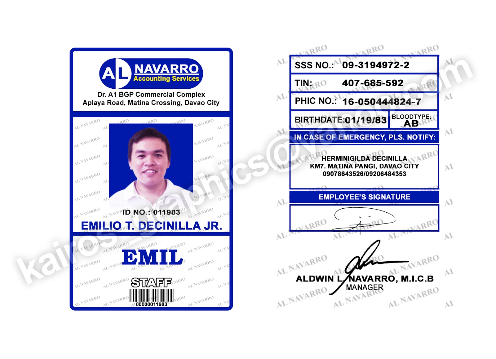 kairos graphics design  pvc id  school  u0026 company