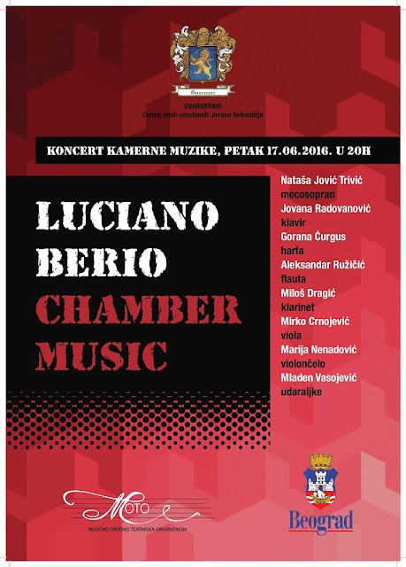 Koncert kamerne muzike - Program Luciano Berio