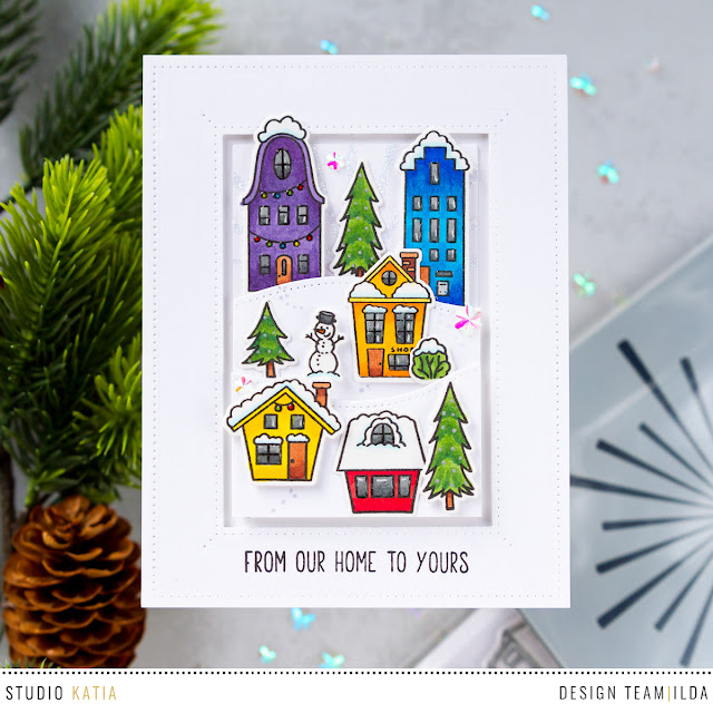Colorful Holiday Village Scene Card by ilovedoingallthingscrafty.com