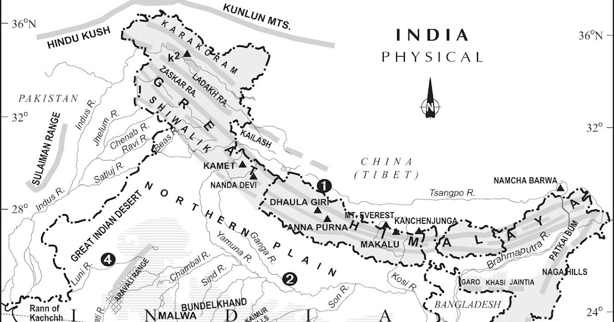 India Physical Map Black