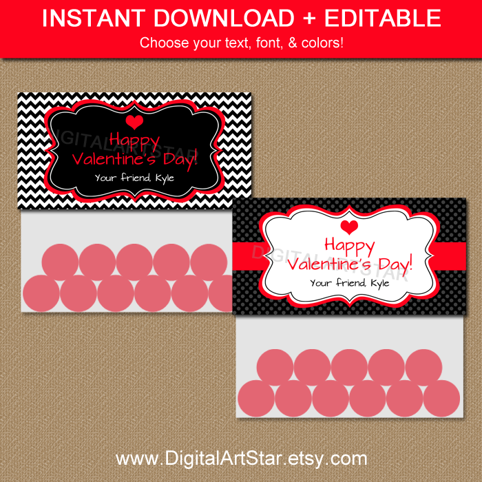 Printable Valentine Bag Toppers with Editable Text