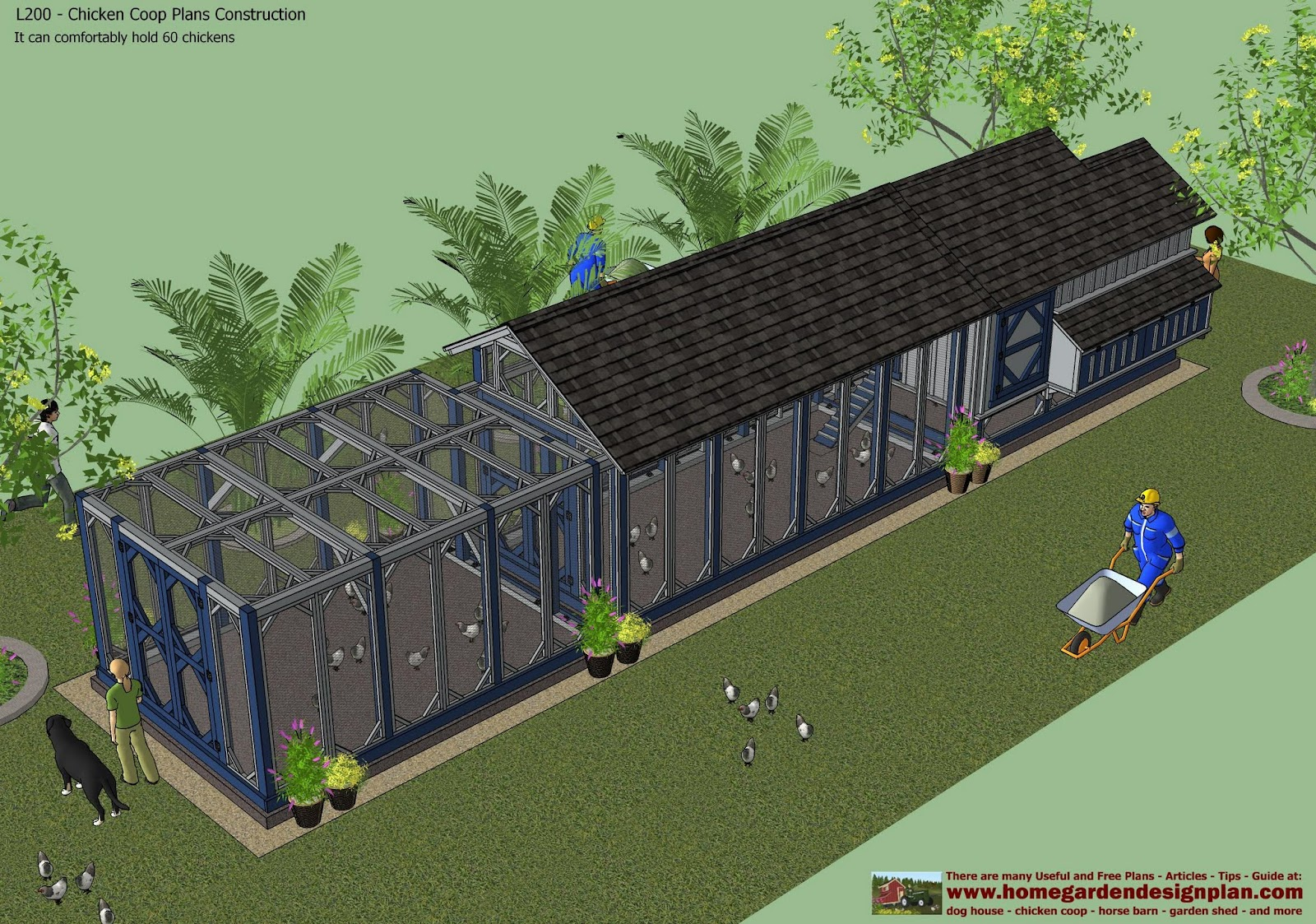 Home garden plans l200 chicken coop plans construction for Chicken run plans