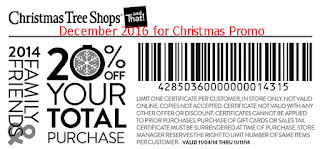 Christmas Tree Shops coupons december 2016