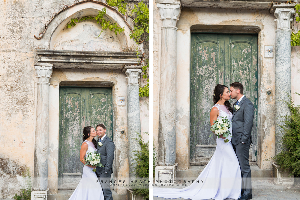 Bride and grom portraits in Ravello infront of green door