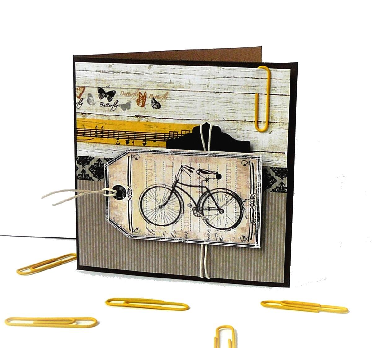 kartka rowerowa ze spinaczem