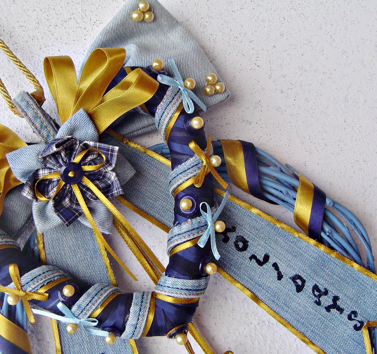 Ghirlanda Natale Riciclo Jeans Blu e Celeste