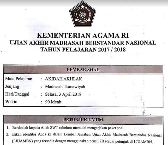 Contoh Soal Uambn Akidah Akhlak Madrasah Tsanawiyah Mts Kurikulum 2013 Tahun 2019 Contoh Soal Un Sd Smp Sma
