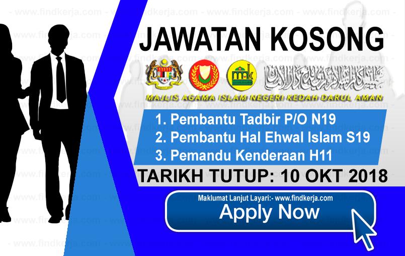 Jawatan Kerja Kosong MAIK - Majlis Agama Islam Negeri Kedah logo www.ohjob.info www.findkerja.com oktober 2018