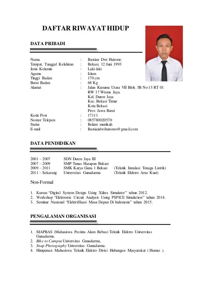 25+ Contoh Daftar Riwayat Hidup Lamaran Kerja (100% Lulus ...