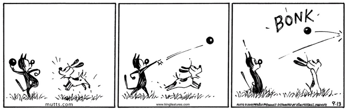 Panel 1: Mooch the cat about to throw a ball as Earl the dog waits excitedly. Panel 2: The ball in the air. Panel 3: Earl and Mooch recoiling in surprise as it bounces off the right panel border with a 'bonk'.