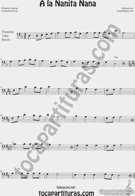 A la Nanita Nana  Partitura de Trombón, Tuba Elicón y Bombardino Sheet Music for Trombone, Tube, Euphonium Music Scores
