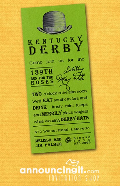 Kentucky Derby Hat Party Invitations