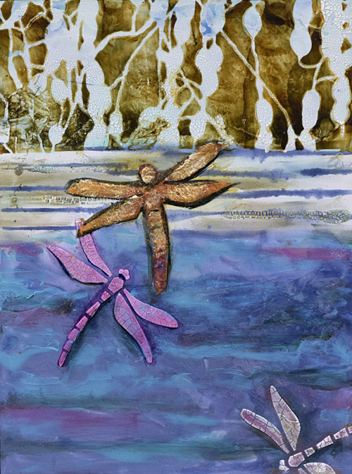 waterscape, blues and dragonflies