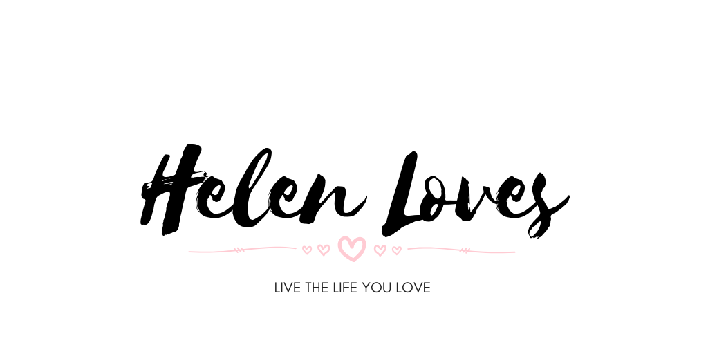 blog header for helenloves.co.uk it is a plain white header with the writing Helen loves on it in black
