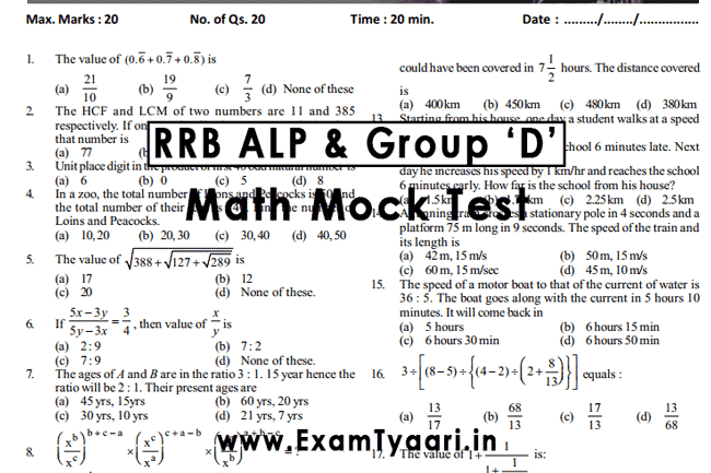 Rrb Group D Study Material Pdf In English