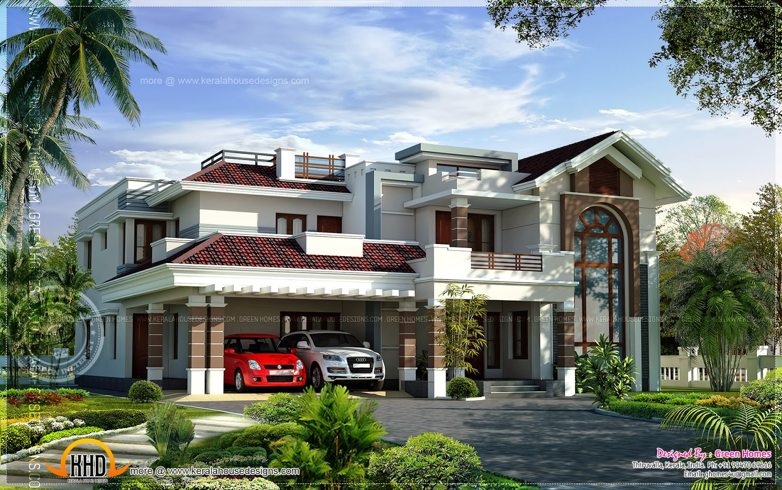 400 square yards luxury villa design kerala home design for Luxury house plans with photos