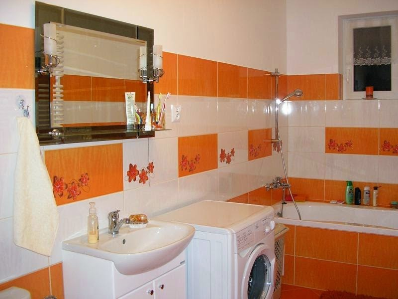 10 ba os en naranja y blanco colores en casa for Accesorios bano color naranja