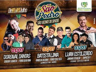 Festa de São Pedro em São Vicente do Seridó terá grandes atrações; confira