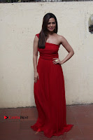 Actress Sana Khan Latest Pos in Georgius Spicy Red Long Dress at the Interview  0012.jpg