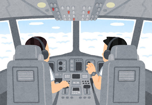 飛行機のコックピットのイラスト(空)
