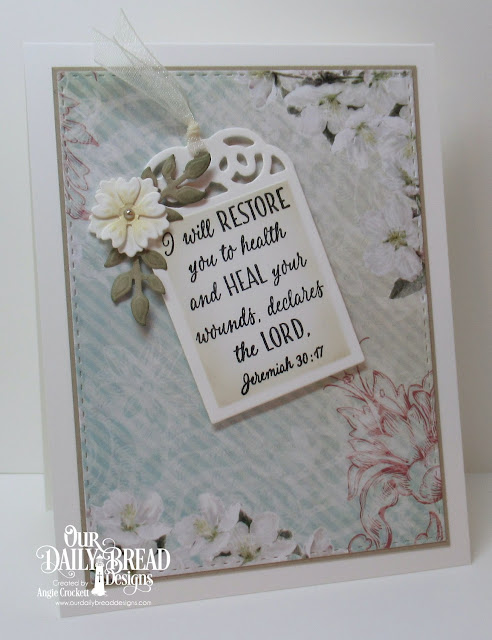ODBD Get Well Wishes, ODBD Custom Bitty Blossoms Dies, ODBD Custom Tag Trio Dies, ODBD Custom Double Stitched Rectangles Dies, ODBD Romantic Roses Paper Collection, Card Designer Angie Crockett