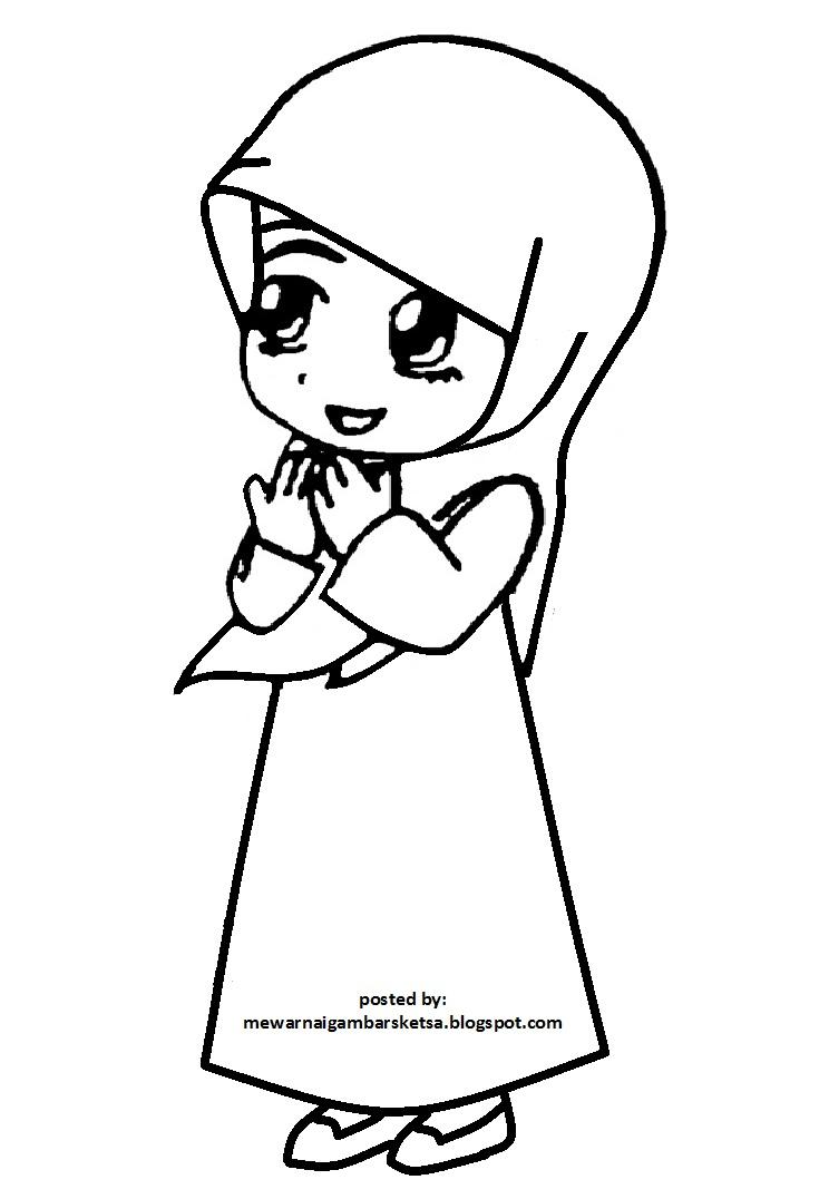 Mewarnai Gambar Mewarnai Gambar Sketsa Kartun Anak Muslimah 100