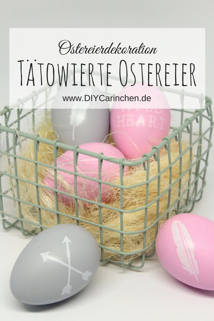 DIY, Basteln, Selbermachen: Ostereier mit weißen Flash Tattoos als Osterdekoration, Osterbastelei, Dekoration - DIYCarinchen