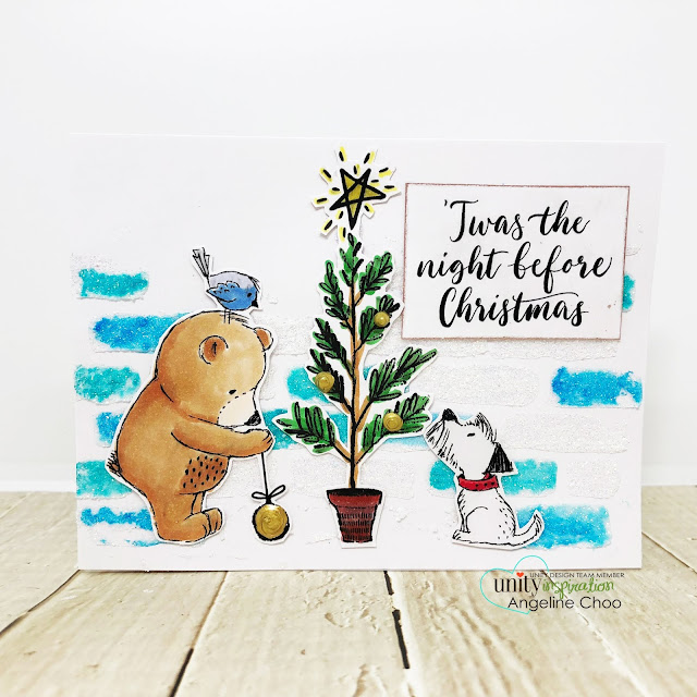 ScrappyScrappy: Unity Stamp Lisa Glanz - Twas the Night #scrappyscrappy #unitystampco #lisaglanz #youtube #quicktipvideo #cardmaking #papercraft #stamp #stamping #copicmarkers #christmascard #holidaycard #winter #dylusions #nuvoglimmerpaste #tcw #stencil #twasthenight #christmastree #nuvodrop