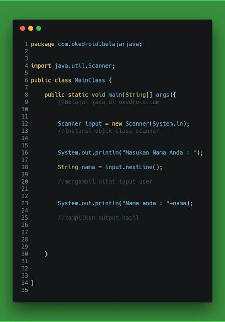 Contoh Code Method .nextLine() class Scanner Java