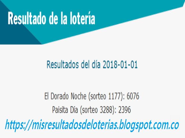 Resultados de las loterías de Colombia | Ganar chance | Resultado de la lotería | Loterias de hoy 01-01-2018