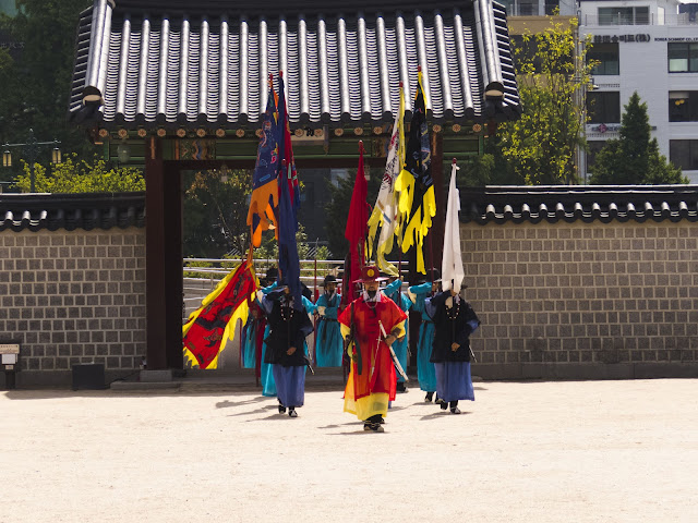 Changing of the guard at Gyeongbokgung Palace in Seoul South Korea