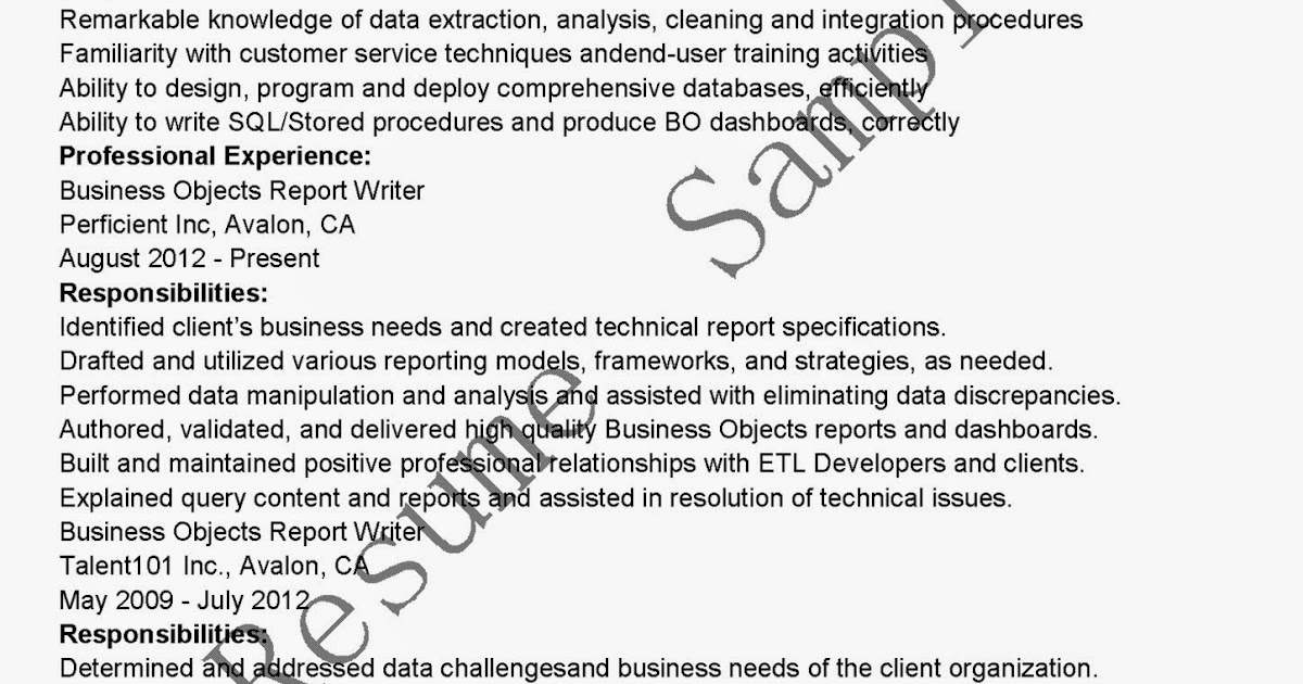 Resume business objects developer - business objects developer resume