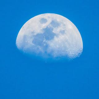La demi-lune devant un ciel bleu
