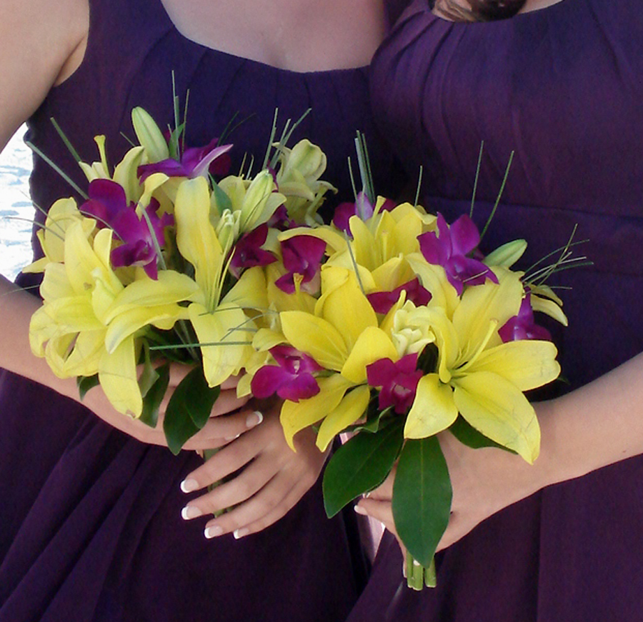 Wedding By Designs: Purple And Yellow Bouquets