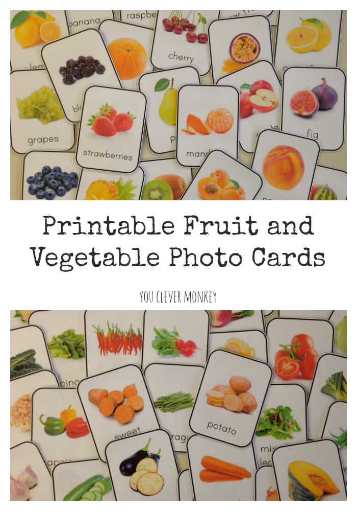 How to Create a Print Rich Environment - why and how to create a print rich setting in your classroom or homeschool. Use these FREE beautiful photo fruit and vegetable printable cards to get started creating your own print rich class | you clever monkey