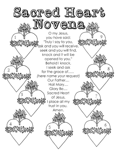 Look to him and be radiant sacred heart novena color a for Sacred heart of jesus coloring page