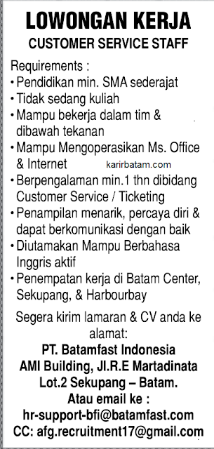 Lowongan Kerja PT. Batamfast Indonesia