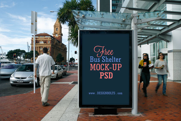 2 Bus Panel Outdoor Advertising Mock-up PSD