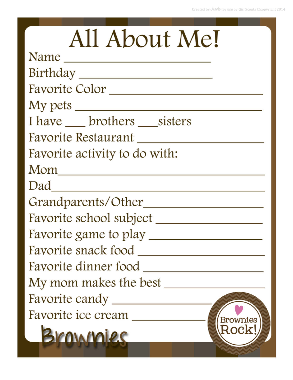 My Fashionable Designs Girl Scouts About Me Free Printable