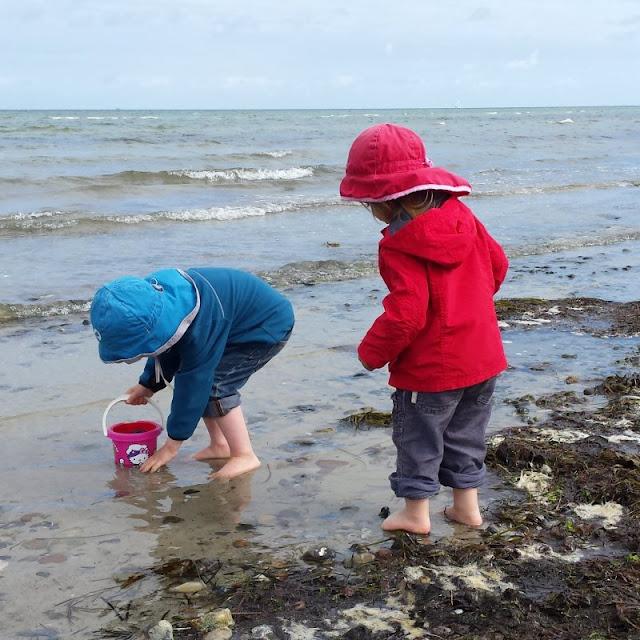 Der Strand von Wendtorf im Naturschutzgebiet Bottsand. Die Kinder sammel gerne Muscheln und Steine am Ufersaum und gehen ins Wasser.