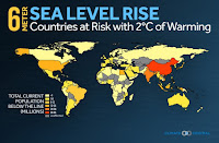 Countries at risk with 2C of warming (Credit: climatecentral.org) Click to Enlarge.