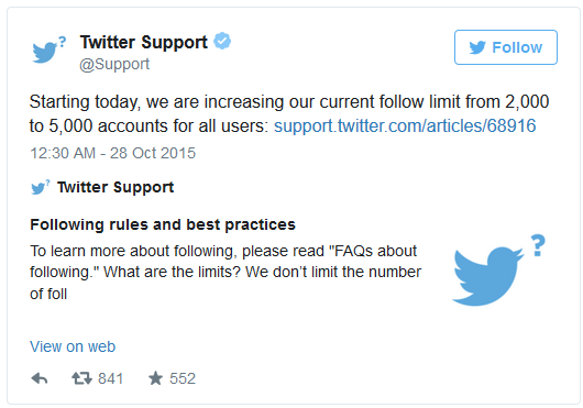 Twitter Increases Follow Limit From 2,000 to 5,000 Accounts : EaSKME