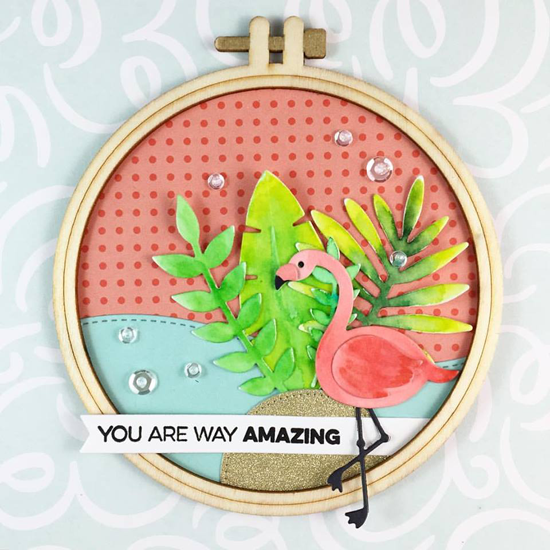 Amazing stamp set and Laina Lamb Design Flamingos Die-namics - Marcie Sharp #mftstamps