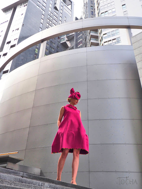 scuba, neoprene, dress, hat, millinery, beads, neon, magenta, peony, Vogue, pattern cutting, sewing pattern, Gdynia, Sea Towers, Poland,