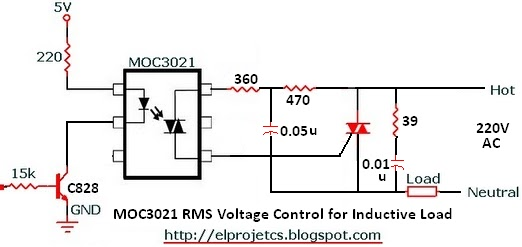 MOC3021 Circuitry For Inductive Load With Snubber Circuit