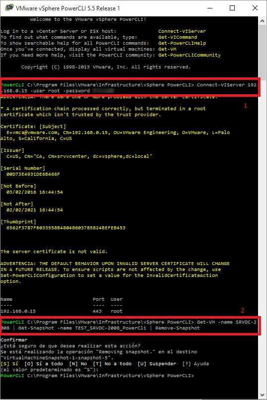 Pantallazos es: VMware Delete SnapShot