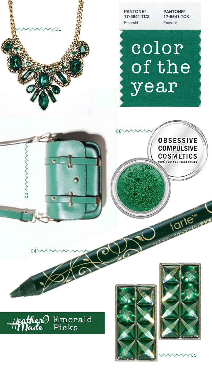 emerald accessories. color of the year.