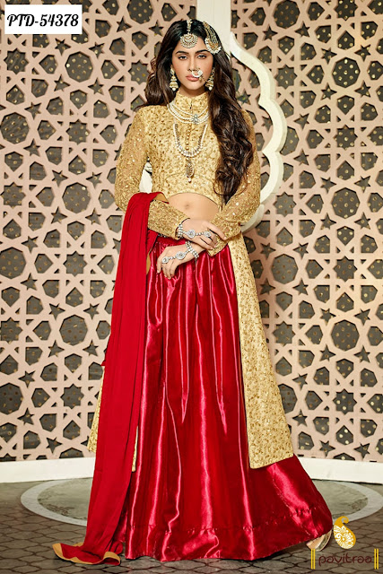 red beige color net floor length designer anarkali salwar suit with discount sale at lowest prices Surat India