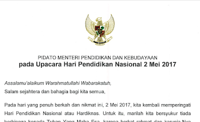 Teks Pidato Mendikbud pada Upacara Hari Pendidikan Nasional 2 Mei 2017