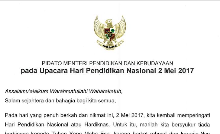 Download Teks Pidato Mendikbud pada Upacara Hari Pendidikan Nasional 2 Mei 2017